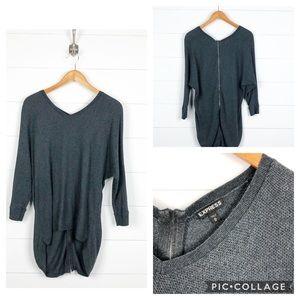 ~Express~ Grey Back Zipper Long Sweater